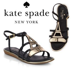 Kate Spade Adon Eiffel Tower Metallic Flat Sandal